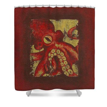 Giant Red Octopus - Shower Curtain