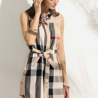 Plaid Stand Collar Self Tie Shirt Dress -SheIn(Sheinside)