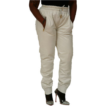 Womens Unisex White Leather Sweat Pants / Joggers Relaxed Fit Smooth Nappa Sheepskin Red Liner