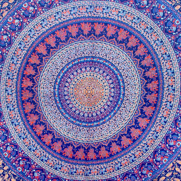 "Hippie Hippy Wall Hanging,Wall Decor,Indian Mandala Elephant tatpestry,Bed Spread Wall art,Beach Coverlet Throw,Bed Sheet, Curtain 92"" x85"""