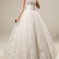 Gorgeous Sweetheart Neck Sequins and Appliques Design Women's Backless Lace Up Wedding Dress