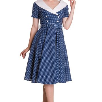 Hell Bunny 60's Vintage Navy Blue Polka Dot Hepburn Wide V Neck Dress