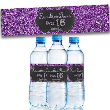 Purple Sweet 16 Party Favors - Purple Glitter Sweet 16 Water Bottle Labels - Purple Sweet Sixteen - Party Decor - Personalized - Bling