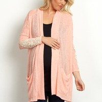Peach-Crochet-Sleeve-Pocket-Front-Cardigan