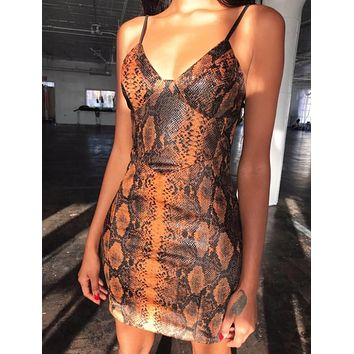 Summer New Fashion Snake Texture Straps Dress Women