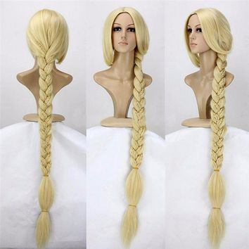 "Cool Tangled Princess 120cm 47"" Straight Blonde Super Long Cosplay Wig Rapunzel Synthetic Hair Anime Wig + Wig CapAT_93_12"