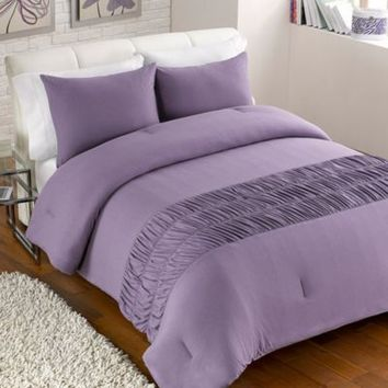 Jersey Rouched Comforter Set in Purple