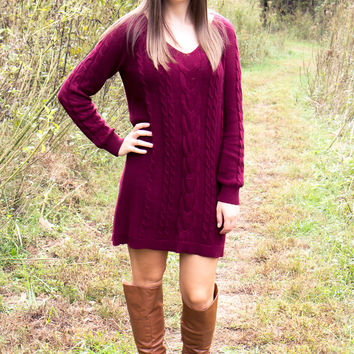 Legends of Fall Sweater Dress - Burgundy