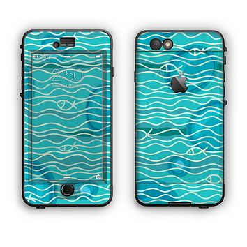 The Blue Abstarct Cells with Fish Water Illustration Apple iPhone 6 Plus LifeProof Nuud Case Skin Set