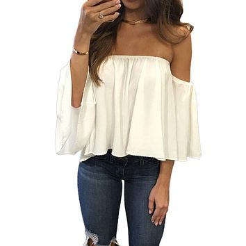 Slash Neck Shirt Strapless Off Shoulder Blouses