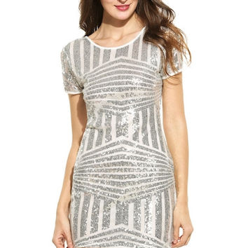 Short Sleeve Striped O Neck Sequined Mini Party Dress