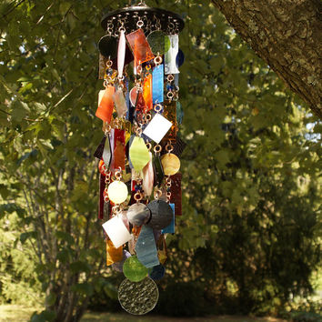 Stained Glass - Colored Glass - Wind Chimes - Sun Catcher - OOAK - Mobocracy