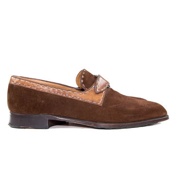 Brown Suede Leather Monk Strap Shoes Size:9