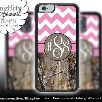 Monogram iPhone 5C 6 6 Plus Case iPhone 5s iPhone 4 case Ipod 4 5 Touch case Tree Camo Pink Fat Chevron Zig Zag  Personalized