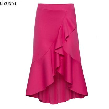 LXUNYI Europe and America Saia feminina Midi Skirt High Waist Irregular Ruffles Elegant Skirts For Women Autumn New A-Line Skirt