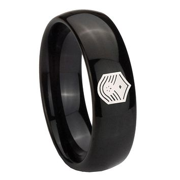 8MM Classic Dome Chief Master Sergeant Vector Shiny Black Tungsten Laser Engraved Ring