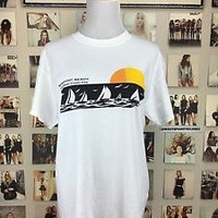 New! Brandy Melville White Cotton Rosay Newport Beach Sunset Tee Top Shirt Nwot
