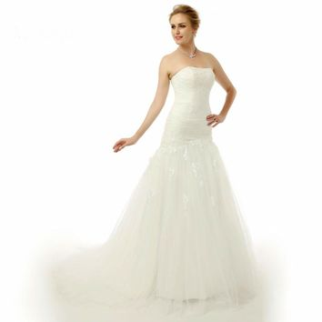 Wedding Dresses Long Train Dress For Bride Tulle Applique Lace Up Mermaid Wedding Gowns