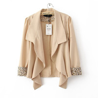 Sleeve Wave Lapel Suit Beige$42.00