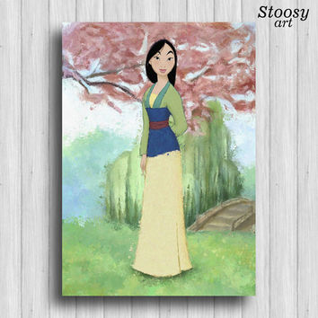 disney princess mulan print girl art paining