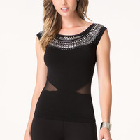 bebe Womens Embellished Cutout Top Black