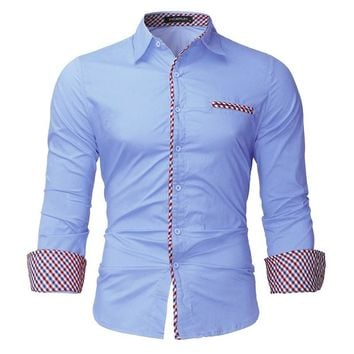 2017 Brand Casual Shirt Autumn Spring Long Sleeve Mens Business Formal