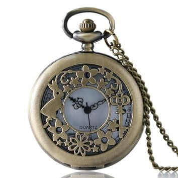 Vintage Hollow Ailce in Wonderland Theme Rabbit & Key Case Design Bronze Quartz Fob Pocket Watch with Necklace Chian for Women