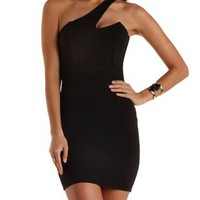 One Shoulder Bodycon Dress by Charlotte Russe - Black