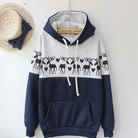 Deer Sweater Shirt with Hoodies Navy blue