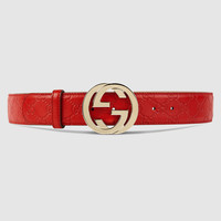 Gucci - Guccissima belt with interlocking G