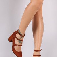Qupid Three Straps Mary Jane Pump