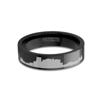 El Paso City Skyline Cityscape Engraved Black Tungsten Ring