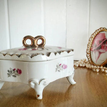 Rose Porcelain Jewelry Box, Porcelain Footed Jewelry Box, Shabby Chic Rose Trinket Box