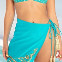 Teal Embellished Sequin Sarong