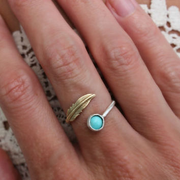 Turquoise ring, feather ring, Sterling silver ring, stacking ring, midi ring, stackable ring