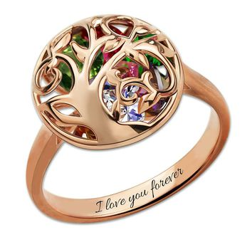 Mother Birthstone Ring Engraved Cage Ring Personalized Rose Gold Color Family Tree Ring Gift