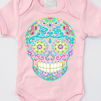 Baby Girl clothes. Pink Skull and Roses Tattoo Bodysuit 3, 6, 12 months. Trendy Toddler shirt Blush Punk Jumper