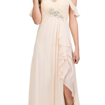 Empire Waist Long Formal Dress with Slit and Drapes Champagne