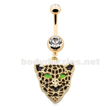 Golden Black Onyx Panther Belly Button Ring 14ga Navel Ring