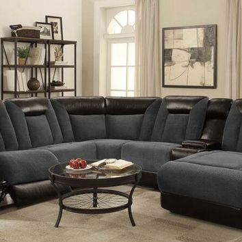 6 pc Cybelle collection two tone grey and bark brown upholstered motion sectional sofa set with chaise and recliners