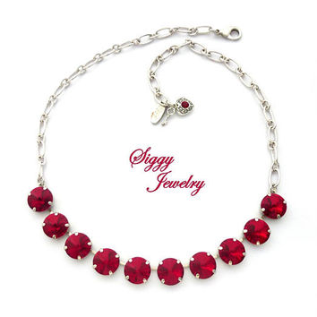 Swarovski® Crystal Necklace, 12mm Rivoli, Siam Red, Ruby, Assorted Finishes, Select Your Number Of Crystals, Valentine's Day, Gift Packaged
