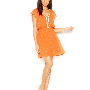 Maison Jules Flutter-Sleeve Heart-Print Dress