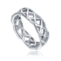 Stainless Steel Woven X Triangle Pattern Ring