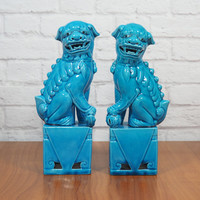 Authentic Vintage Chinese Foo Dog Pair Turquoise Blue Chinese Imperial Lions / Hollywood Regency Chinoiserie Home Decor