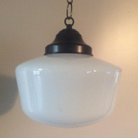 Vintage School Light Pendant Light 9 inch MilkGlass Shade Art Deco Church Store Light 1930s