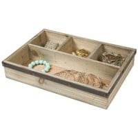 Four Section Wooden Jewelry Tray Drawer Organizer (Natural)