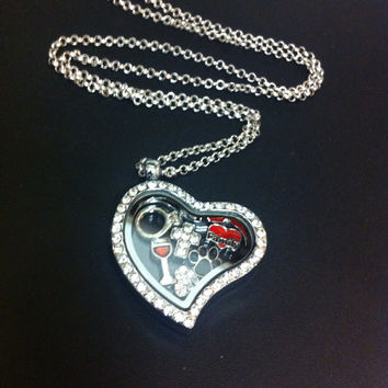 SALE Magnetic Floating Crystal Heart Locket includes free SS Rolo Chain