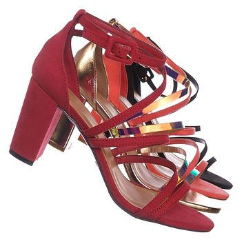 Striking32 Chunky Block High Heel Strappy Sandal - Women Gladiator Open Toe