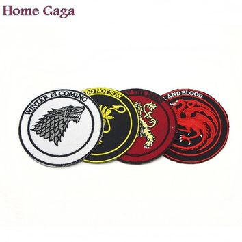 D0219 Homegaga Newset famous Drama Game of Thrones patch Embroidered Iron on Patches for Clothing DIY Clothes Appliques