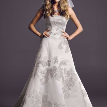 Oleg Cassini Lace Peek-a-Boo Back Wedding Dress - Davids Bridal